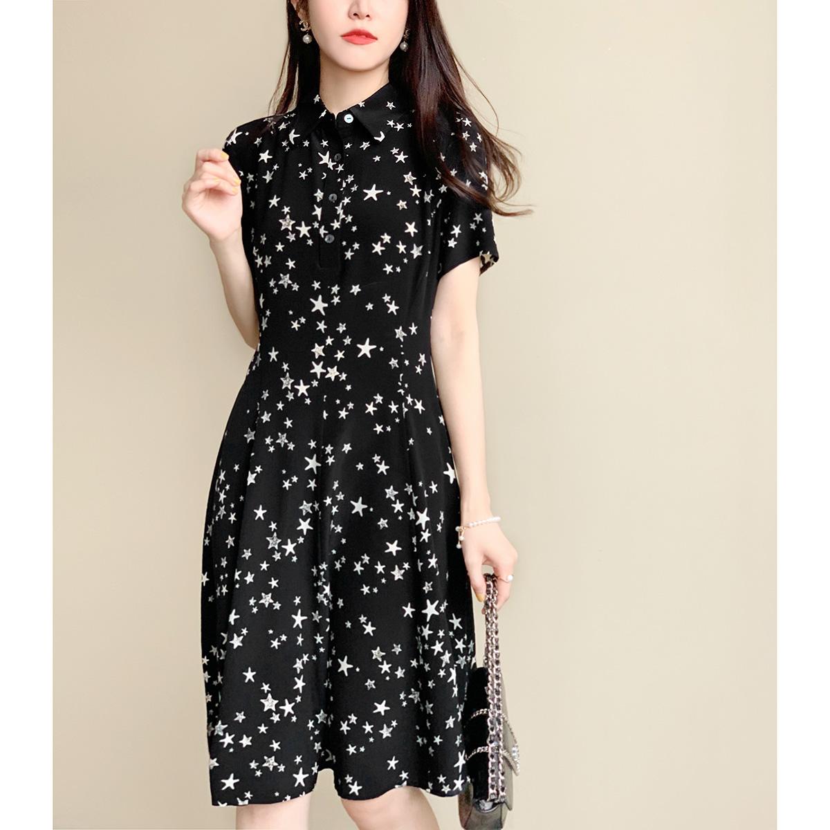 点击查看商品:自制!夏夜星星裙~很显瘦很减龄!纯真丝收腰中长款连衣裙