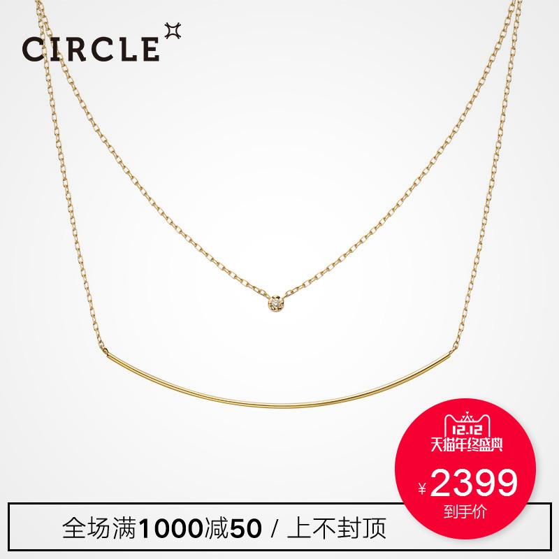 circle日本珠宝 10K金圆形钻石双层项链可叠戴正品女