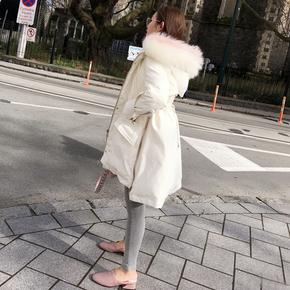 柒柒家 2017新款女装冬韩国收腰加厚显瘦中长款超大毛领羽绒服潮