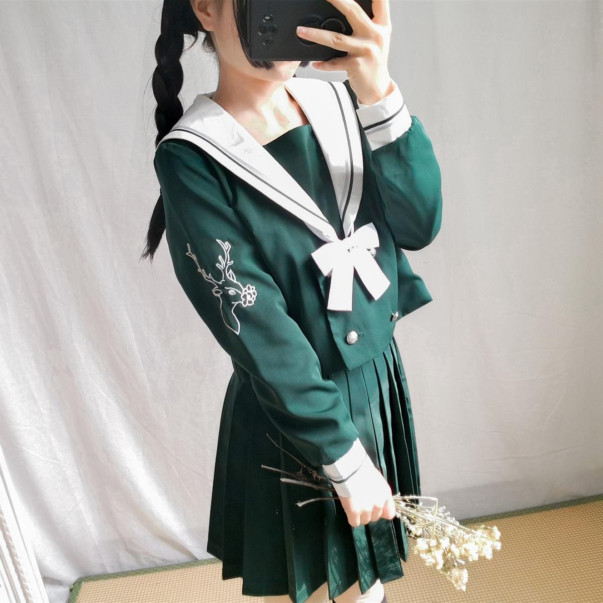 日本JK制服冬季深林鹿水手服墨绿套装学院风软妹女学生校班服女