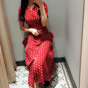 ins超火的v领冷淡风红色法式复古雪纺波点连衣裙女夏2020新款裙子