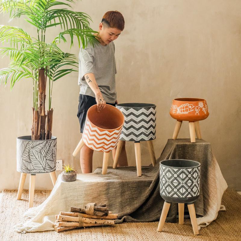 【七茉】创意几何纹理树脂花盆落地式北欧风植物花器家居阳台装饰