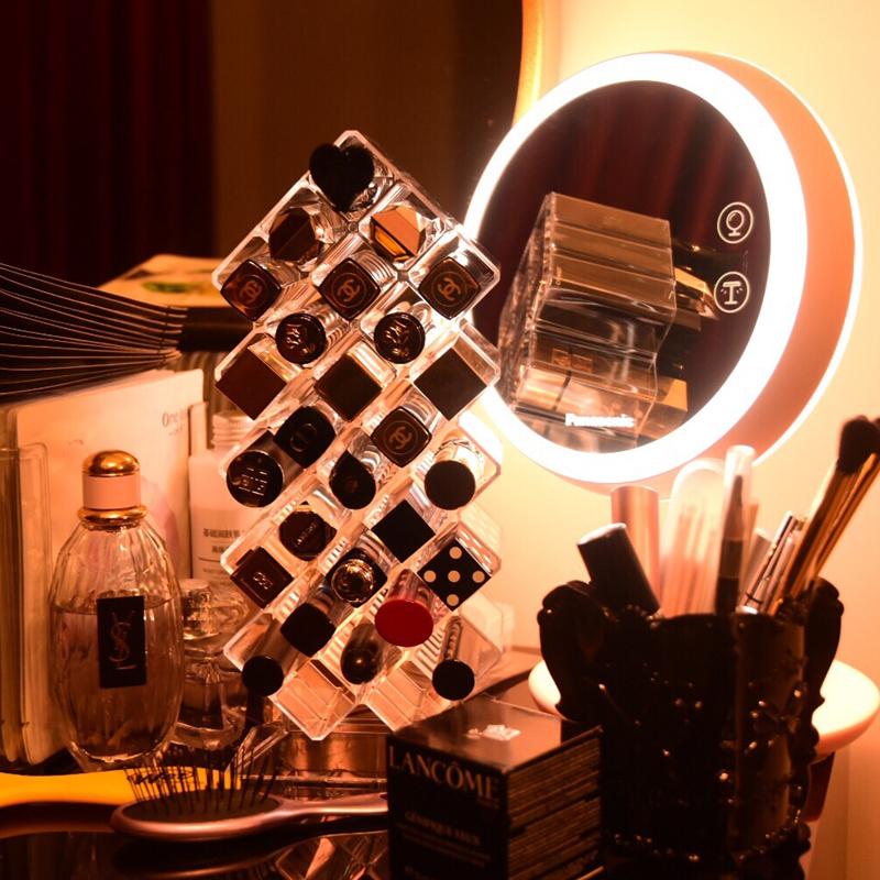 口红收纳盒网红欧式小奢华亚克力透明梳妆台女盒子化妆品收纳架格
