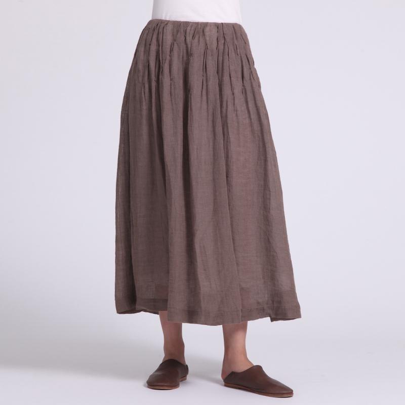 言茶夏季新款亚麻A型纯色百褶手绣褶皱复古长款半身裙子Q1F2103