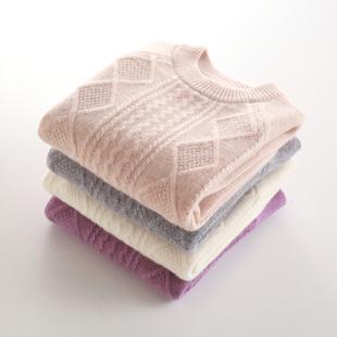 儿童羊绒衫圆领纯色套头男童毛衣加厚女童山羊绒针织打底衫秋冬款