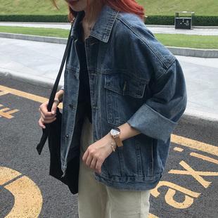 深蓝色牛仔外套女宽松韩版牛仔春季学生牛仔外套工装2019春新款