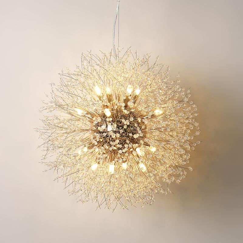 北欧简约后现代客厅灯个性创意卧室餐厅灯led球形水晶蒲公英吊灯