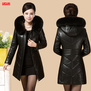 Oversized women's leather coat down jacket middle-aged and elderly winter thickened coat Korean version of the long section mother loaded fur