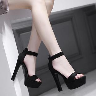 2020欧美款T台高跟女鞋14cm超高粗跟夏季凉鞋 模特走秀舞台演出鞋图片