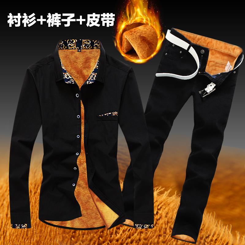 秋冬季男士韩版修身长袖衬衫加绒加厚牛仔套装潮流保暖衬衣服外套图片