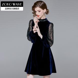 台湾网纱连衣裙品牌蕾丝典雅梗桔法式2020流行女装新款春款金丝绒