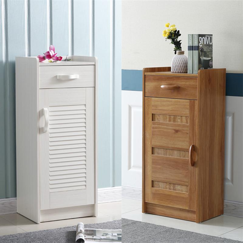 迷你小鞋柜简约现代门厅柜小省空间实木色储物柜单门小户型进门柜