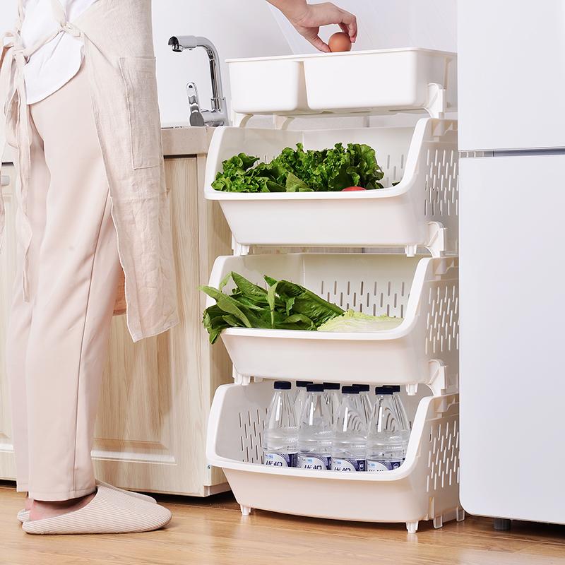 加厚叠加厨房置物架蔬菜水果收纳架落地收纳架塑料置物架厨房用品