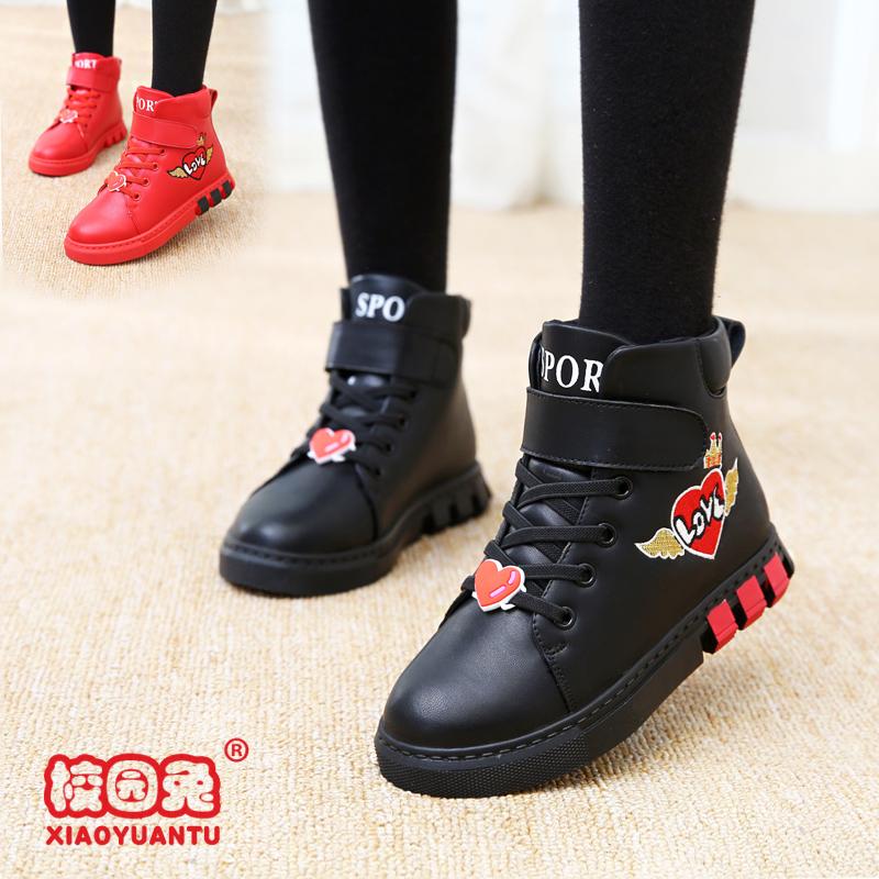 女童靴子秋冬季短靴女孩新款大童棉鞋加绒冬鞋真皮雪地马丁儿童鞋
