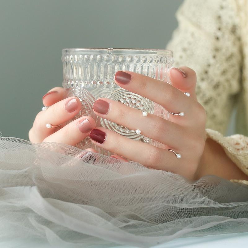 韩版小众设计925银开口戒指女极简约珍珠关节尾戒学生指环网红ins