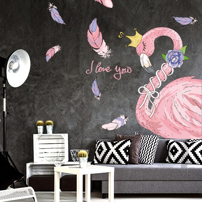 ins少女心房间装饰品火烈鸟墙贴网红卧室墙面贴画贴纸布置小清新