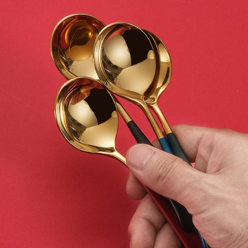 德国304不锈钢勺子家用创意网红汤勺儿童调羹吃饭可爱铁圆头汤匙