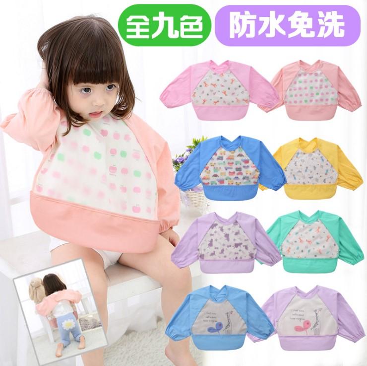日本千家热卖口水巾儿童饭兜围嘴防水围兜吃饭衣罩衣反穿衣包邮