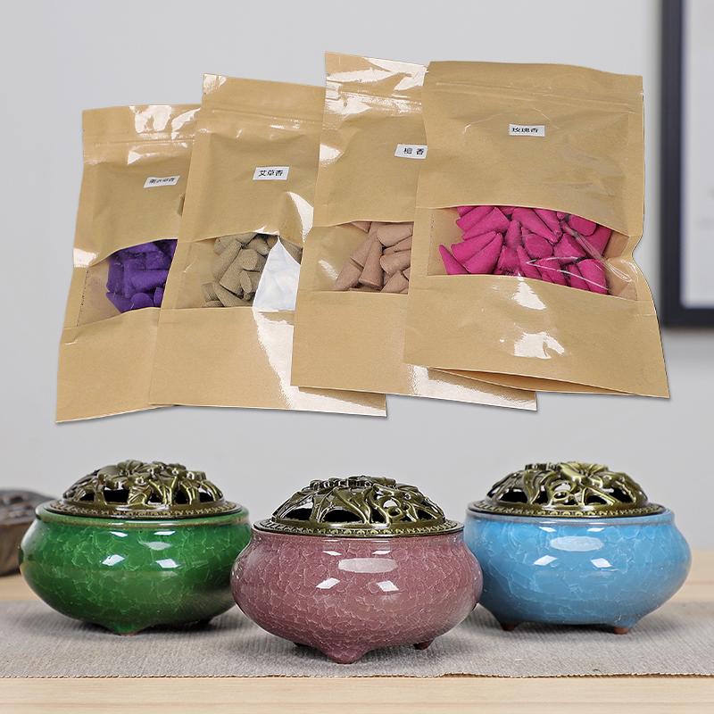 天然檀香塔香熏香塔香炉室内香薰锥香创意小香炉除臭除味室内檀香