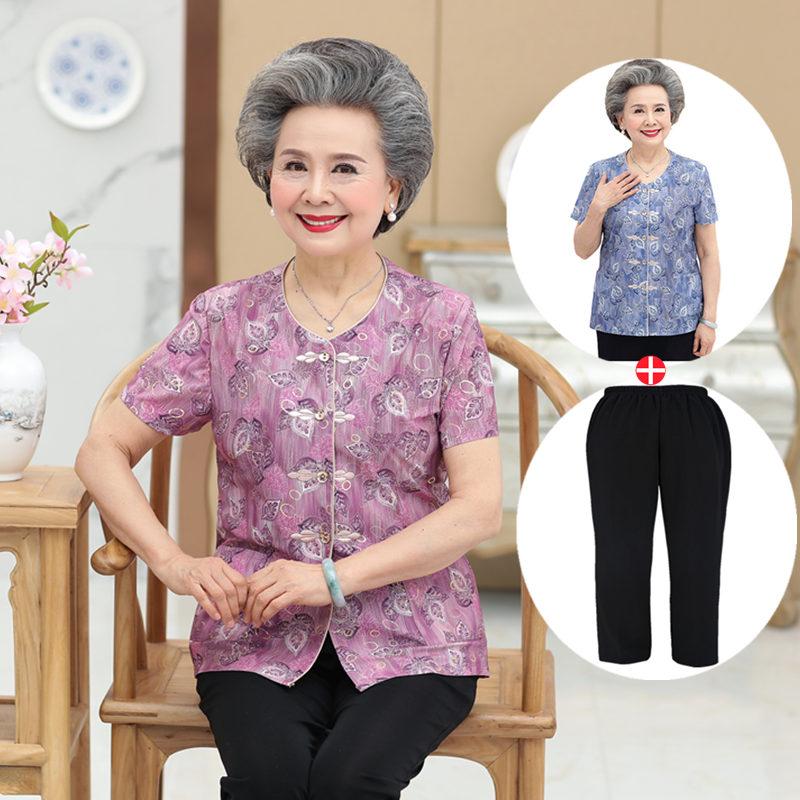 奶奶 夏装 套装 老太太 衬衫 中老年 女装 妈妈 婆婆 老人 两件套
