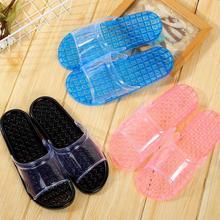 水晶拖鞋女款863居户外浴21滑漏水按摩底大码新款透明糖果色