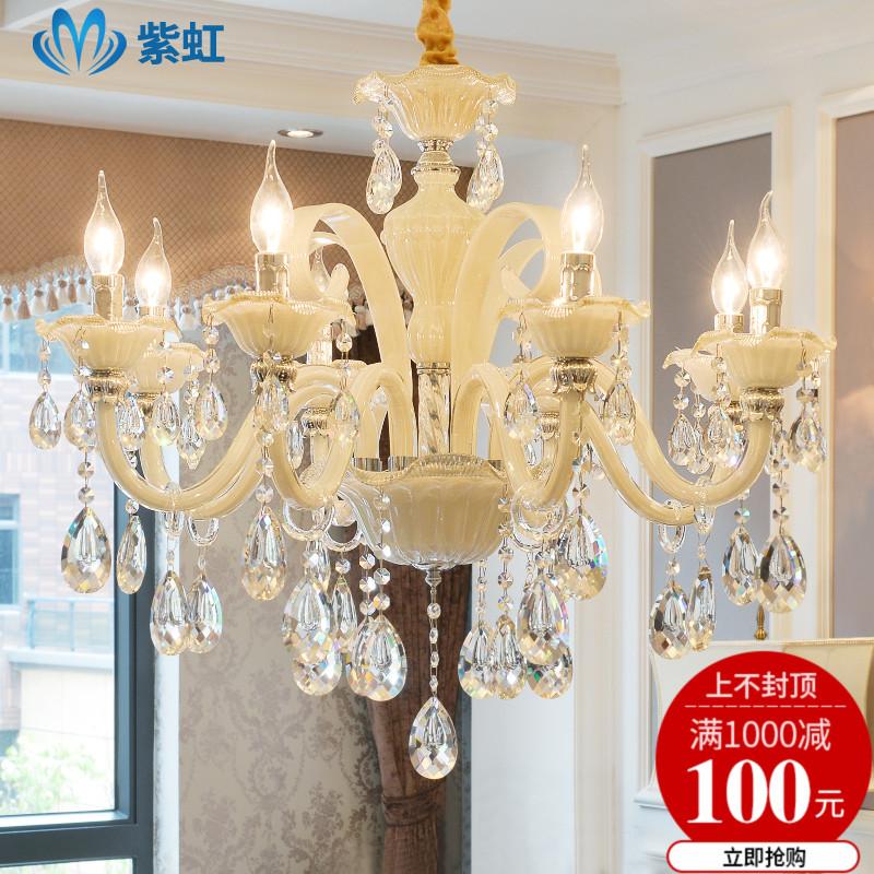 欧式吊灯客厅奢华大气水晶吊灯简约餐厅卧室灯具复式楼蜡烛水晶灯