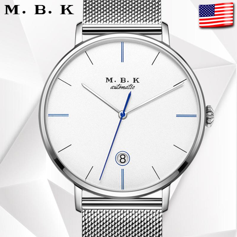 美国进口MBK手表男士全自动机械表防水超薄男表简约dw送智能手表8