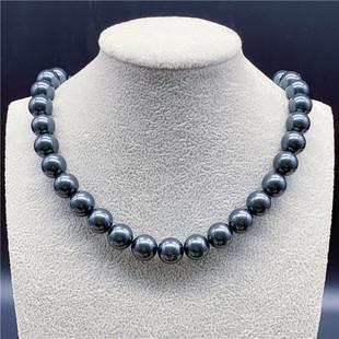天然大溪地黑珍珠项链珍珠粉项链正圆极强光无暇项链毛衣链