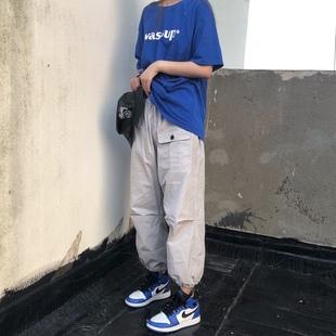 现货NEW*START 17F/W 立体剪裁工装抽绳束脚裤 男女军绿色工装裤
