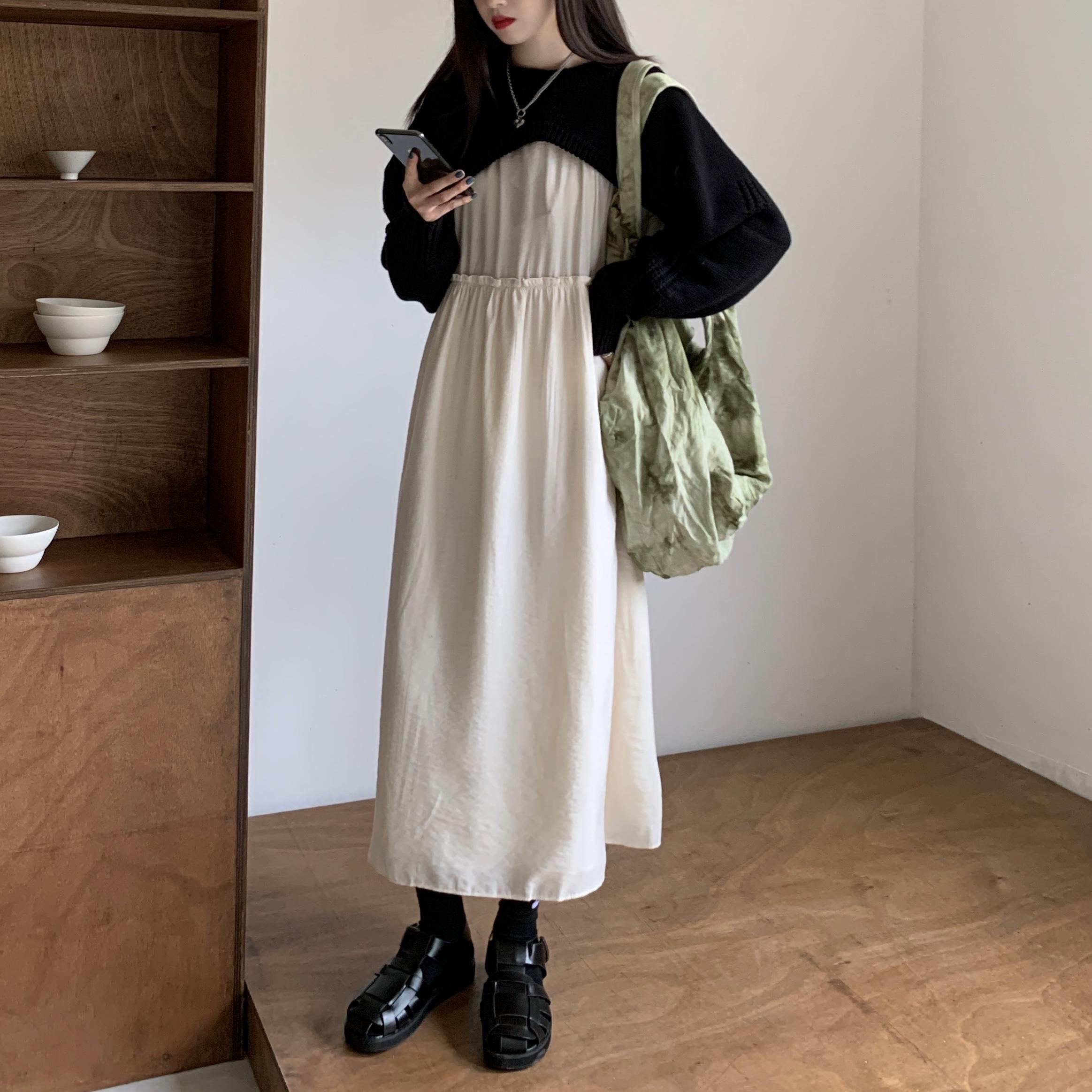 实拍宽松外穿短款慵懒风镂空长袖针织毛衣+连衣裙打底裙长裙-Lucky-