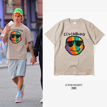 贾斯汀 比伯同款T恤夏tu8彩虹笑脸tdstin Bieber宽松欧美潮牌