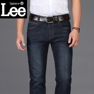 Lgnace lee黑色牛仔裤男春秋季秋冬款直筒宽松休闲修身男装潮长裤
