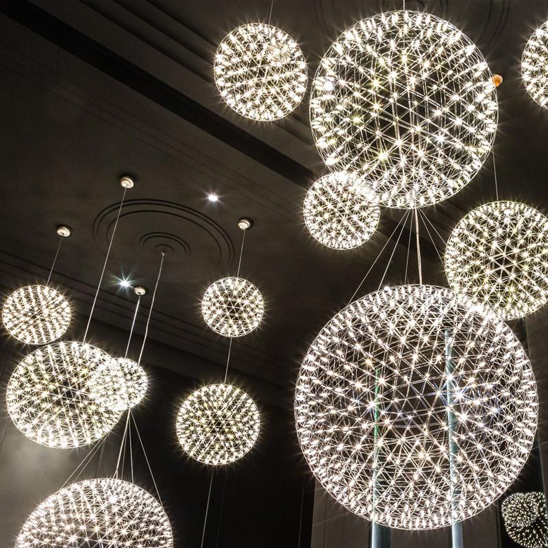 简约后现代创意个性服装店楼梯灯具北欧工业风餐厅酒吧火花球吊灯-奥伦司照明馆