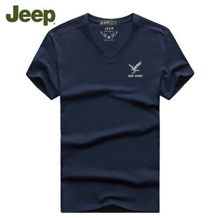 品牌男装 夏季战地 JEEP短袖男t恤V领纯棉宽松大码运动体恤打底衫
