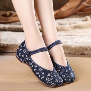 新款小碎花民族风绣花鞋老北京舞蹈布鞋内增高妈妈单鞋日常散步鞋