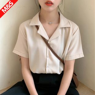 雪纺短袖白色衬衫女夏季衬衣设计感小众西装领职业通勤气质上衣女图片