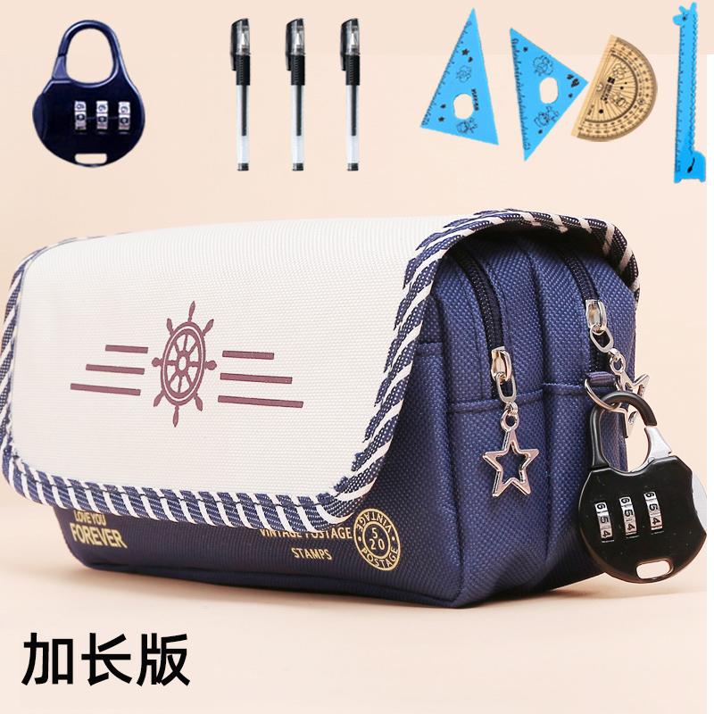 韩国笔袋简约女中小学生文具盒可爱帆布纯色文具袋大容量男铅笔盒