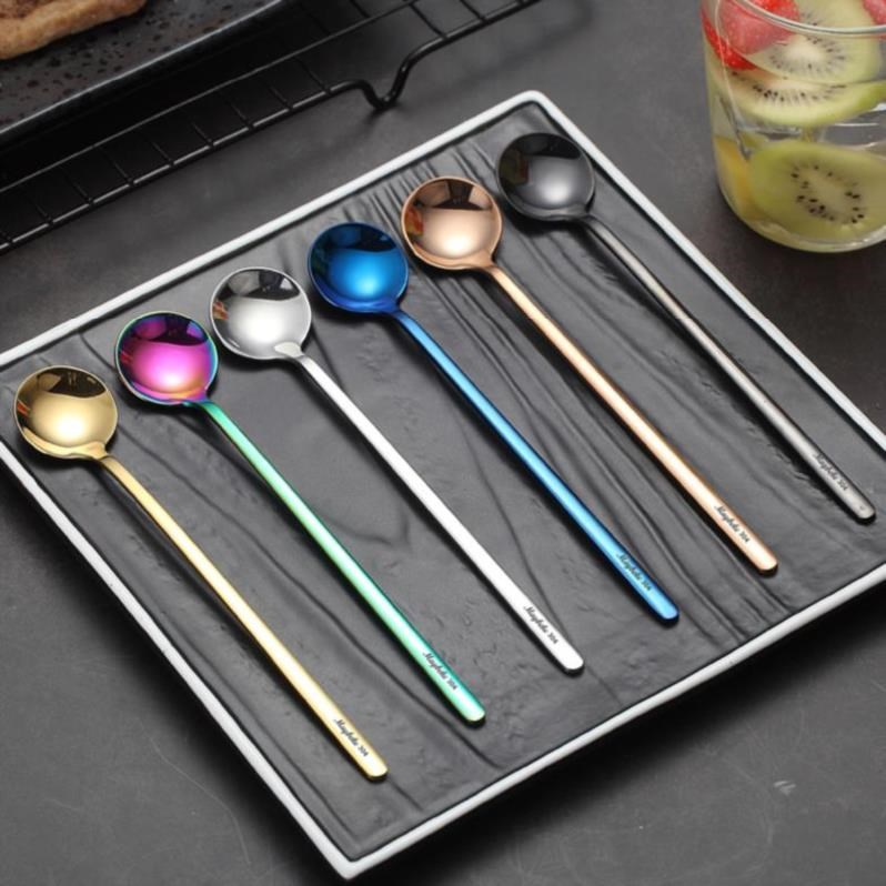水果捞细长不锈钢汤勺调羹小勺子小蛋糕小号餐厅短把奶茶短柄叉勺