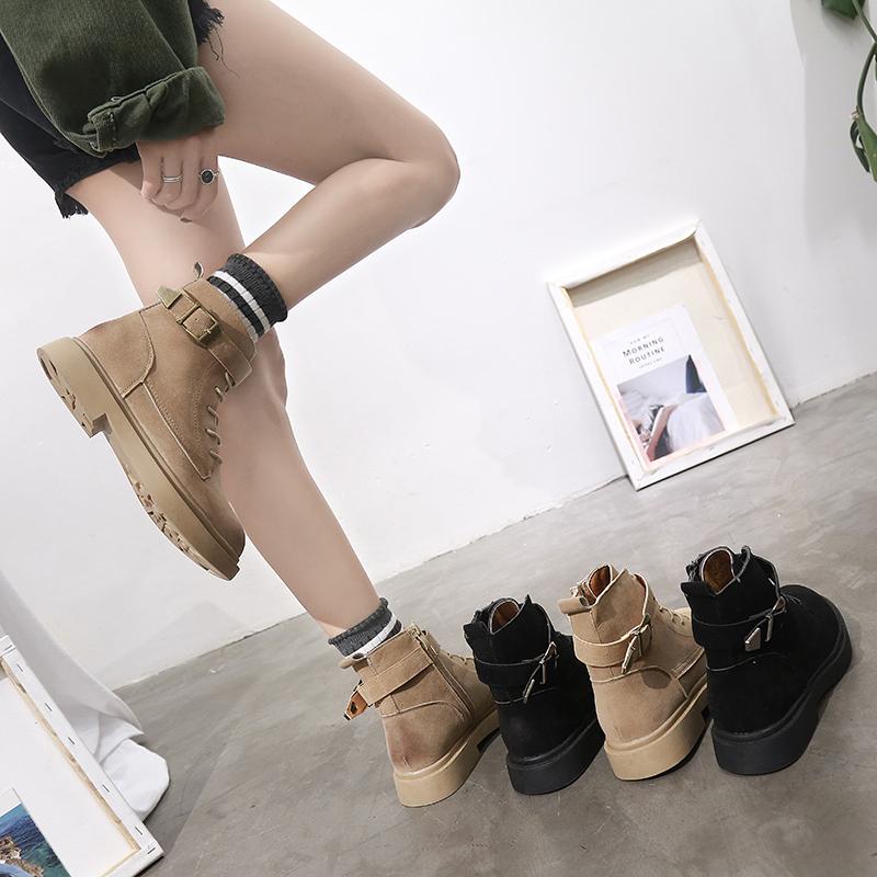 ins马丁靴女英伦风2018春秋韩版新款百搭学生短筒平底网红小短靴