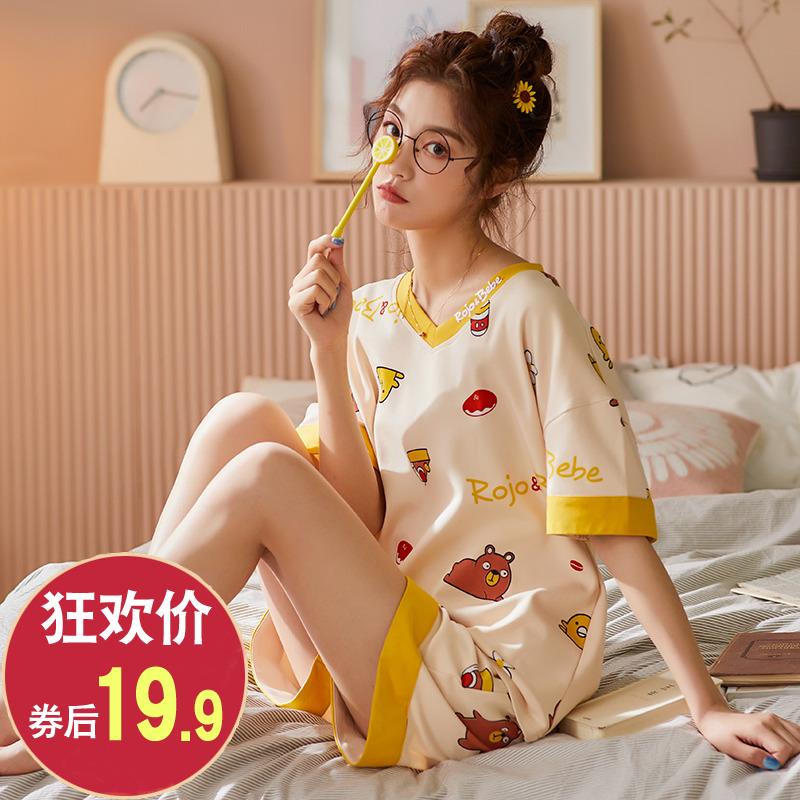夏季女士睡衣纯棉家居服薄款韩版可爱公主风短袖两件套装春秋冬女