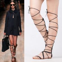 欧美大码交叉绑带沙fa6平底时尚da长筒凉鞋系带露趾罗马女鞋