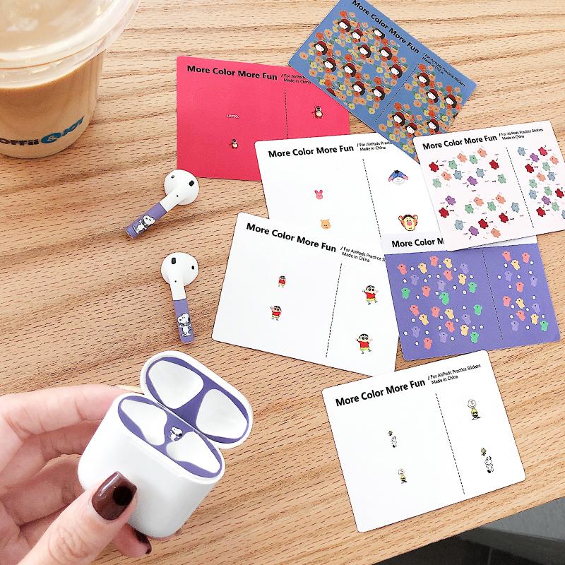 AirPods2耳机贴纸通用苹果无线蓝牙耳机防尘贴日韩卡通饰品防刮花