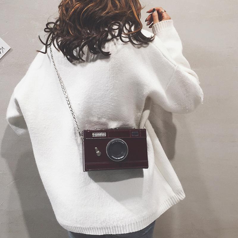 搞怪小包包女2019新款个性漆皮相机小方包纯色链条盒子单肩斜挎包