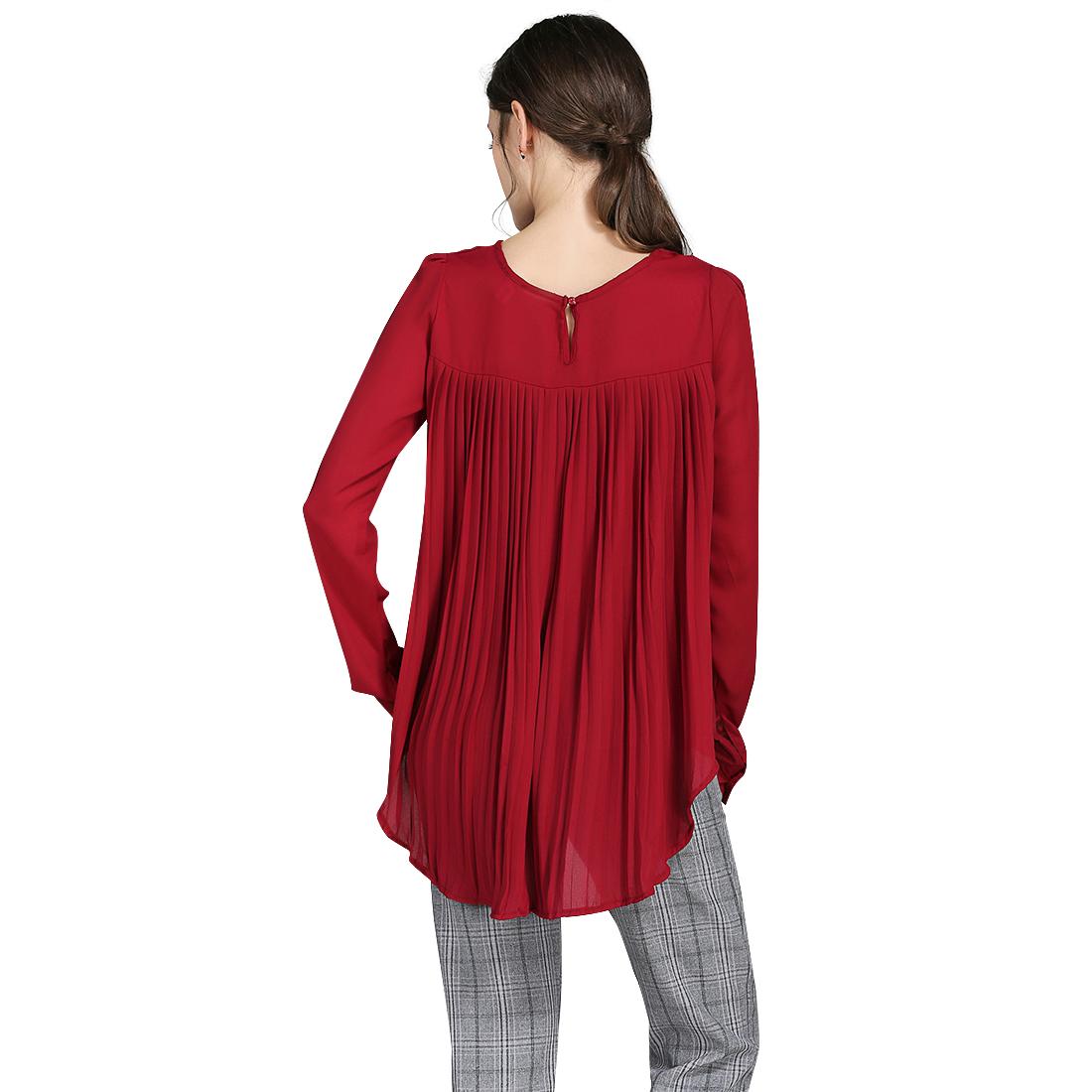 204#速卖通EBAY爆款欧美新款雪纺衫压褶宽松衬衣外贸女装三色八码 -