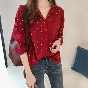 Early autumn women's 2019 new Hong Kong flavor dot print chiffon shirt female long sleeve shirt Han Fan shirt bottoming shirt