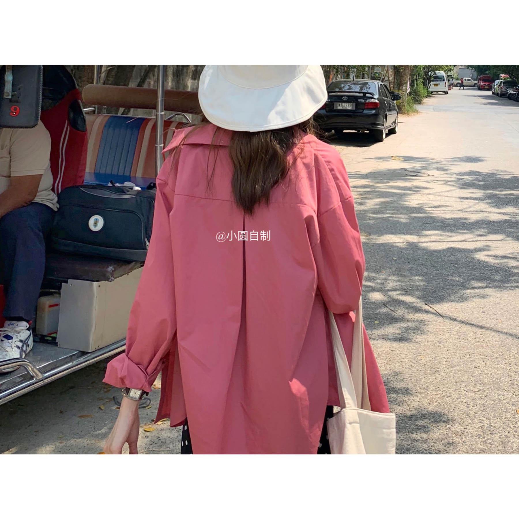 「小圆自制」韩国甜美学生少女桃红色衬衫粉色上衣防晒小外套女夏