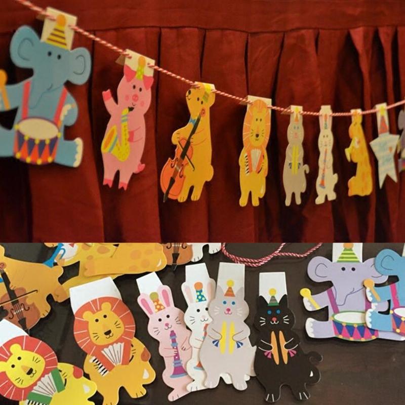 宝宝周岁生日派对装饰 卡通动物拉花布置幼儿园场地布置韩式挂旗