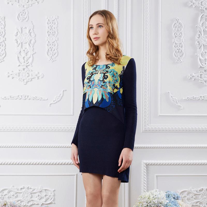 萨克 集市 秋装 新款 圆领 对称 印花 两件 连衣裙