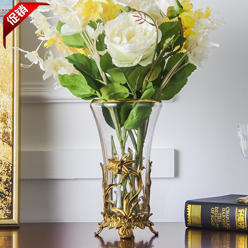 欧式美式捷克水晶配铜高档奢华软装家居饰品透明客厅花瓶花器花插
