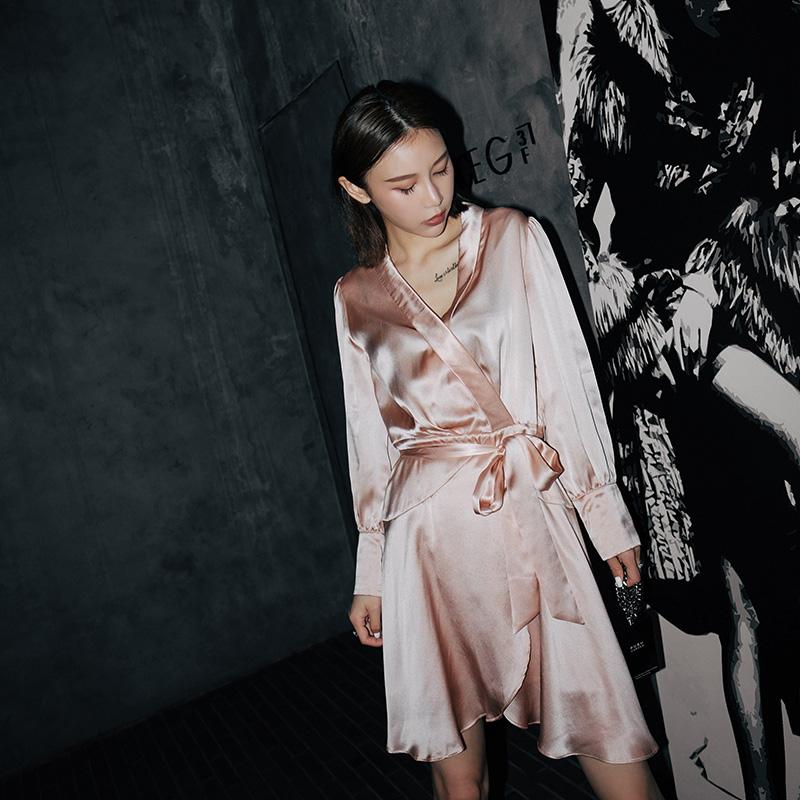 Ayuko 衬衫连衣裙女2018夏新款不规则系带长裙宽松显瘦睡袍裙子